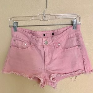 Blush cut off distressed jean shorts